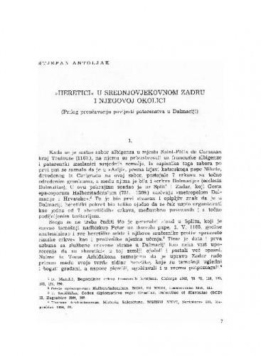 Heretici u srednjovjekovnom Zadru i njegovoj okolici : (prilog proučavanju povijesti patarenstva u Dalmaciji) / Stjepan Antoljak