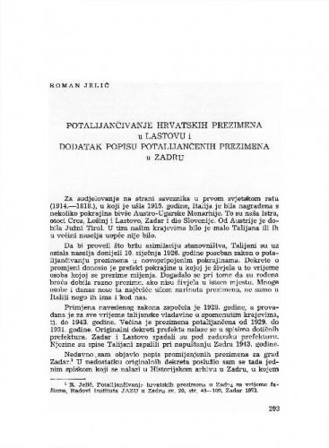 Potalijančivanje hrvatskih prezimena u Lastovu i dodatak popisu potalijančenih prezimena u Zadru / Roman Jelić