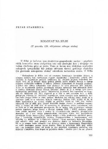 Kolonat na Silbi : (u povodu 120. obljetnice otkupa otoka) / Petar Starešina