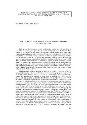 Prilog Blaža Tadijanovića francusko-hrvatskoj leksikografiji / V. Putanec