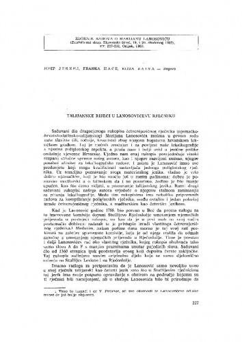 Talijanske riječi u Lanosovićevu rječniku / J. Jernej, F. Hace, E. Zaina