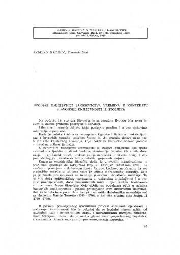 Slavonski Brod: Brodski književnici Lanosovićeva vremena u kontekstu slavonske književnosti 18. stoljeća / A. Barbić