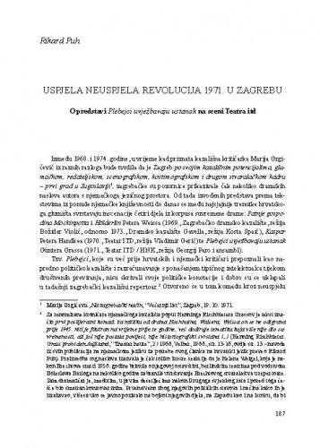 Uspjela neuspjela revolucija 1971. u Zagrebu : O predstavi Plebejci uvježbavaju ustanak na sceni Teatra ITD / Rikard Puh