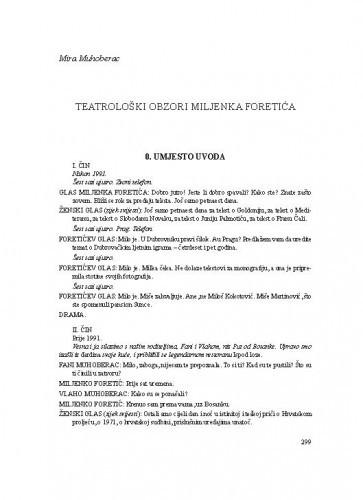 Teatrološki obzori Miljenka Foretića / Mira Muhoberac