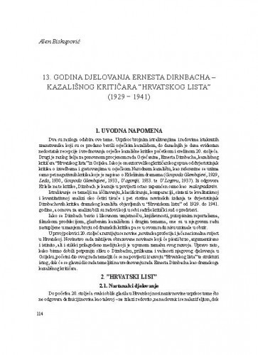 13. godina djelovanja Ernesta Dirnbacha - kazališnog kritičara