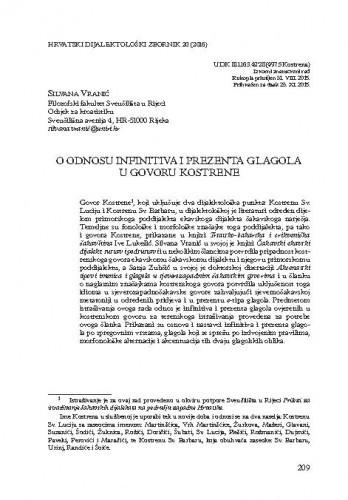 O odnosu infinitiva i prezenta glagola u govoru Kostrene / Silvana Vranić