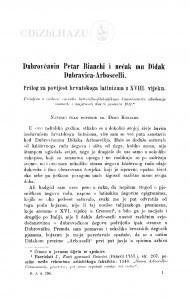 Dubrovčanin Petar Bianchi i nećak mu Didak Dubravica-Arboscelli : prilog za povijest hrvatskoga latinizma u XVIII. vijeku / Đ. Körbler