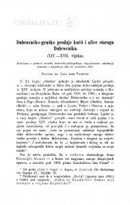 Dubrovačko-gruške prodaje kuća i ulice staroga Dubrovnika (XIV.-XVII. vijeka) / L. Vojnović