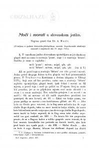 Moči i morati u slovenskom jeziku / A. Musić