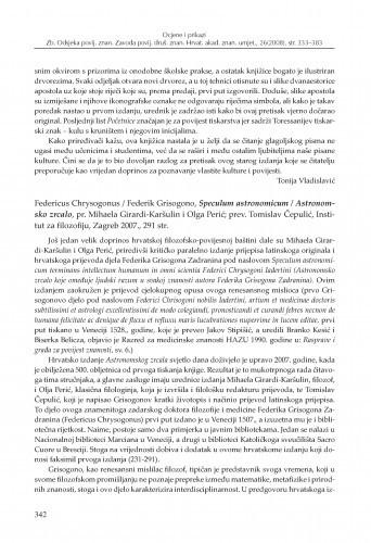 Federicus Chrysogonus = Federik Grisogono, Speculum astronomicum = Astronomsko zrcalo, pr. Mihaela Girardi-Karšulin i Olga Perić; prev. Tomislav Čepulić, Institut za filozofiju, Zagreb 2007. : [prikaz] / Zrinka Novak