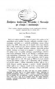 Žiteljstvo kraljevina Hrvatske i Slavonije po zvanju i zanimanju / M. Zoričić