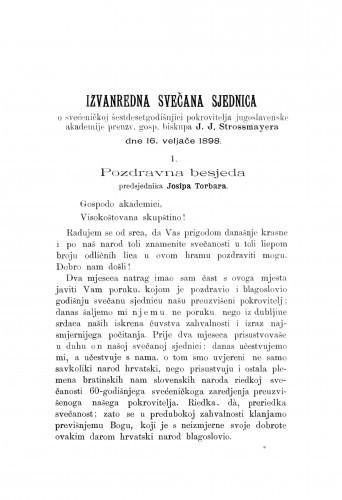 Pozdravna besjeda : [Izvanredna svečana sjednica o svećeničkoj šestdesetgodišnjici J. J. Strossmayera dne 16. veljače 1898.] / J. Torbar