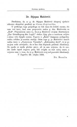 Dr. Stjepan Matičević / A. Bazala