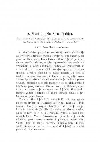 Život i djela Šime Ljubića : [nekrolog.] / T. Smičiklas