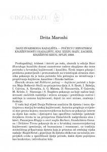 Dani hvarskoga kazališta - počeci u Hrvatskoj književnosti i kazalištu, knj. XXXIV, HAZU, Zagreb, Književni krug, Split, 2008. / Drita Maroshi