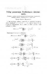 Prilog poznavanju Fredholmove determinante / S. Mohorovičić