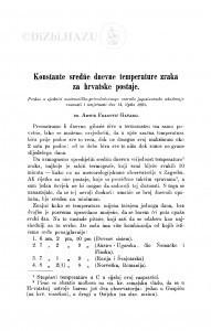 Konstantne sredńe dnevne temperature za hrvatske postaje / A. Gavazzi