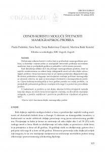 Odnos koristi i moguće štetnosti mamografskog probira / Paula Podolski, Nera Šarić, Tanja Badovinac Črnjević, Martina Bašić Koretić