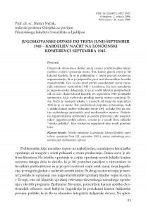 Jugoslovanski odnos do Trsta junij-september 1945 - Kardeljev načrt na Londonski konferenci septembra 1945. / Dušan Nečak