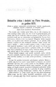 Botaničke crtice i dodatci na Floru Hrvatske, za godinu 1870 / Lj. Vukotinović