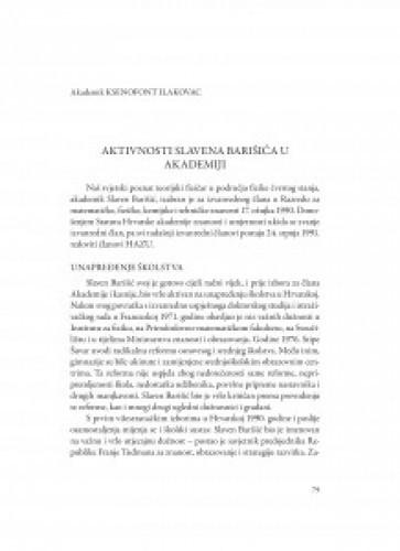 Aktivnosti Slavena Barišića u Akademiji / Ksenofont Ilakovac