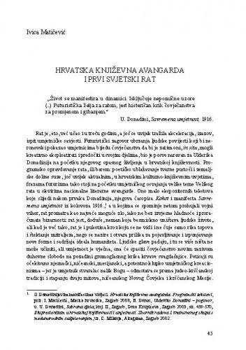 Hrvatska književna avangarda i Prvi svjetski rat / Ivica Matičević