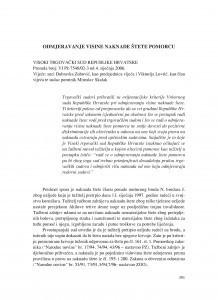 Odmjeravanje visine naknade štete pomorcu (Visoki trgovački sud Republike Hrvatske, presuda broj: VI Pž-7548/02-3 od 4.1.2006.) : [prikaz] / Vesna Skorupan Wolff