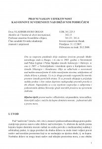 Pravni naslov i efektivnost kao osnove suverenosti nad državnim područjem / Vladimir-Đuro Degan