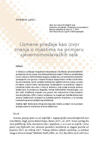 Usmene predaje kao izvor znanja o mjestima na primjeru sjevernomoslavačkih sela / Katarina Lukec