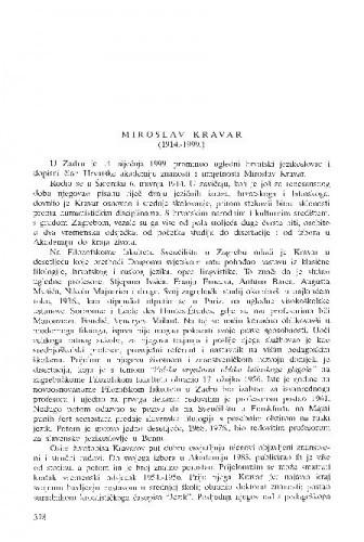 Miroslav Kravar (1914.-1999.) / Josip Vončina