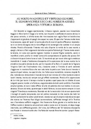 Al molto magnifico et virtuoso signore, il signor Michelle Luccari, nobile Raguseo = Presvijetlome i vrlomu gospodinu Mihu Lukareviću, dubrovačkom plemiću / Speranza Vittoria di Bona