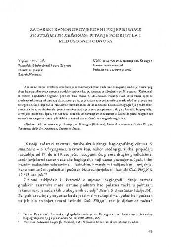 Zadarski ranonovovjekovni prijepisi Muke sv. Stošije i sv. Krševana: pitanje podrijetla i međusobnih odnosa / Trpimir Vedriš