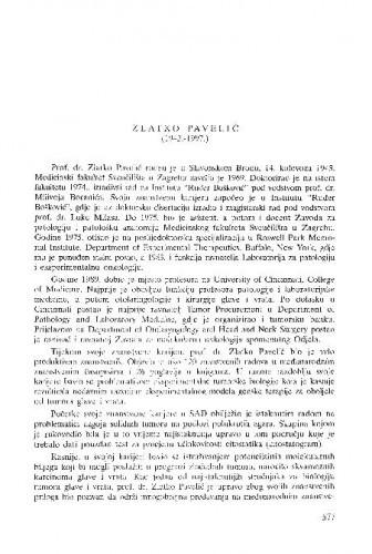 Zlatko Pavelić : (1943.-1997.) / Šime Spaventi