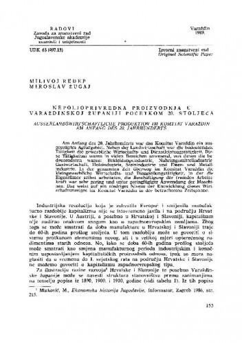 Nepoljoprivredna proizvodnja u varaždinskoj  županiji početkom 20. stoljeća / Milivoj Ređep, Miroslav Žugaj