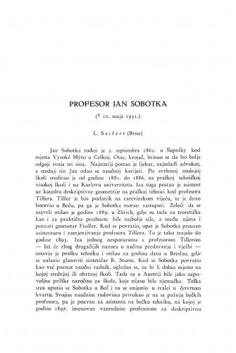 Profesor Jan Sobotka : [nekrolog] / L. Seifert