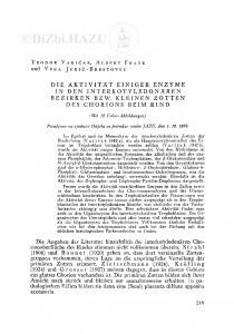 <Die> Aktivität einiger Enzyme in den interkotyledonären Bezirken bzw. kleinen Zotten des Chorions beim Rind / T. Varićak, A. Frank und V. Jukić-Brestovec