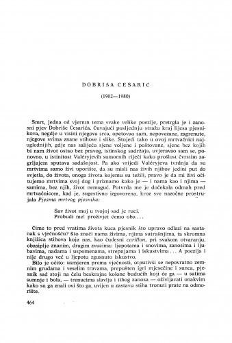 Dobriša Cesarić (1902-1980) : [komemoracija i nekrolozi] / I. Frangeš