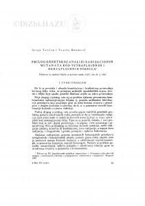Prilog genetskoj analizi radijacionih mutanata kod tetrapoloidnih i heksapoloidnih pšenica / A. Tavčar i V. Kenđelić