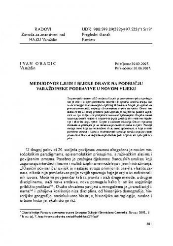 Međuodnos ljudi i rijeke Drave na području varaždinske Podravine u novom vijeku / Ivan Obadić