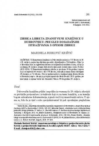 Zbirka libreta Znanstvene knjižnice u Dubrovniku : pregled dosadašnjih istraživanja s opisom zbirke / Marinela Rusković Krištić