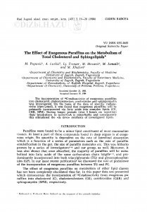 The effect of exogenous paraffins on the metabolism of total cholesterol and sphingolipids / M. Popović, A. Lutkić, Lj. Toman, M. Mesarić, M. Ismaili, M. Xhaferi
