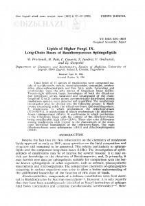 Lipids of higher funghi IX. Long-chain Bases of Basidiomycetous Sphingolipids / M. Proštenik, N. Paić, Č. Ćosović, Z. Jandrić, V. Ondrušek, Lj. Gospočić