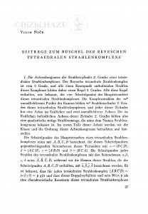 Beiträge zum Büschel der Reyeschen tetraedralen Strahlenkomplexe : Prilozi pramenu Reyeovih tetraedralnih kompleksa / V. Niče