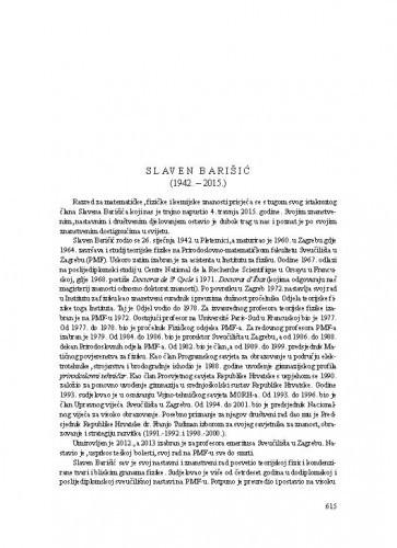 Slaven Barišić (1942.-2015.) : [nekrolog] / Ksenofont Ilakovac