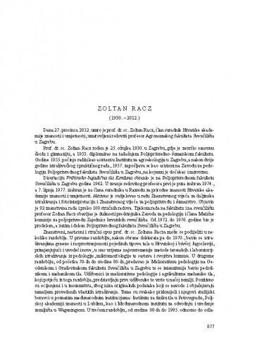 Zoltan Racz (1930.-2012.) : [nekrolog] / Mario Sraka
