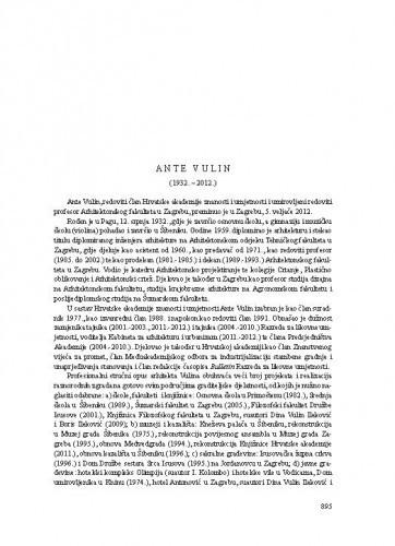 Ante Vulin (1932.-2012.) : [nekrolog] / Andrija Mutnjaković
