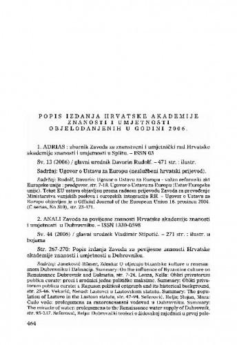 Popis izdanja Hrvatske akademije znanosti i umjetnosti objelodanjenih u godini 2006.