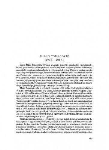 Mirko Tomasović (1938.-2017.) : [nekrolog] / Tonko Maroević