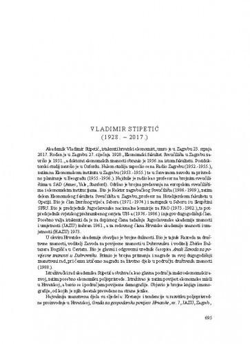 Vladimir Stipetić (1928.-2017.) : [nekrolog] / Zvonimir Baletić