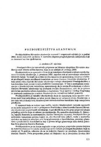 Izvješće o radu Hrvatske akademije znanosti i umjetnosti u godini 2006.